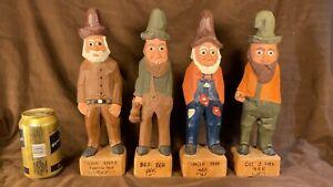 "Lot of 4 Vintage 12"" Tall Hillbilly Mountain Folk Hand Carved Artist Signed"