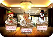Elf, Rudolph & Snowman Trio 12 Edible STANDUP Cake Topper Decoration Christmas