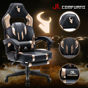 JL COMFURNI RACING GAMING DESK CHAIR LEATHER HOME COMPUTER OFFICE RECLINER CHAIR