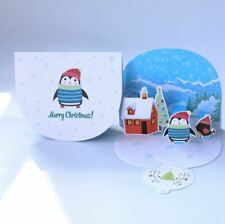 3-D Pop-Up Christmas Card with Christmas Winter Scene