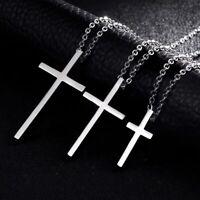 Damen Herren Kette Halskette mit Kreuz Cross Anhänger aus Edelstahl / 3 Größen