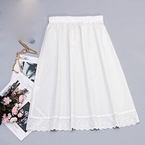 Damen Baumwolle Unterrock Halb Taille Slip Stickerei Spitzenrand Weiß Weich