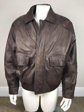 John Ashford Leather Bomber Jacket Blanket Lined Brown Men's Size  00004000 Large Vintage
