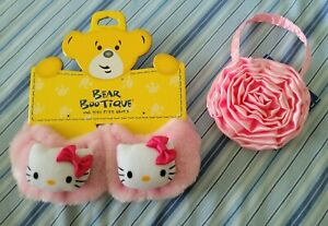 BABW Build a Bear Workshop Sanrio Hello Kitty Pink Furry Slippers Shoes Purse