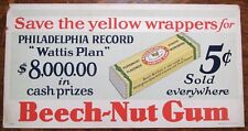 BEECH-NUT CHEWING GUM 5¢ Streetcar Trolley Bus Subway Advertising Car Card SIGN