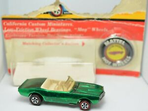 HOT WHEELS REDLINE CUSTOM FIREBIRD US GREEN RIPPED BLISTER AND BUTTON MINTY!