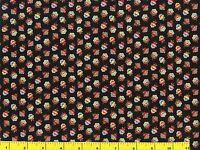 Small Red Green Gold Blue Victorian Flower Buds Quilting Fabric 1/2 Yard  #516