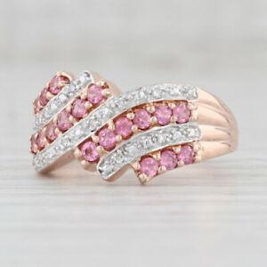 New Pink Tourmaline Diamond Ring 10k Rose Gold Size 8 Bypass