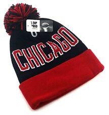 Chicago Top Toque Pom Beanie Cuffed Blackhawks Colors Black Red Era Hat Knit Cap