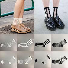 1 Pair Women Transparent Grid Socks Glass Crystal Silk Cool Mesh Knit Sheer Soks