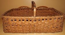 ANTIQUE WOVEN SPLIT OAK HUGE MARKET GATHERING FIELD BASKET CARVED HANDLE 31""