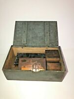 Vtg Antique Collectibles 4 Ink Metal on Wood Blocks in Old Wood Box See pics!