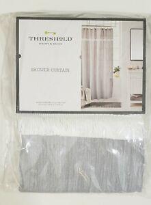 Gray Woven Herringbone Decorative Frill Standard 72inx72in Fabric Shower Curtain