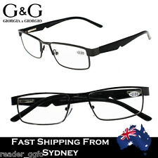 f1557a33fb8 G G Mens Spring Loaded Metal Frame MattFinish Plastic Arms Reading Glasses +1~3.5