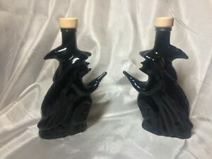 2x BLACK WITCH ON A BROOM Shape Glass Bottles Halloween Storage 200ml Potions