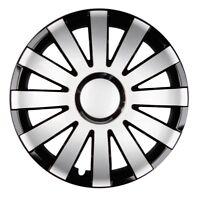 4x PREMIUM DESIGN Radkappen Radzierblenden SET LACKIERT 14 ZOLL Schwarz / Silber