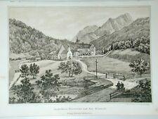 Hinterriss Klösterli Jagdschloß Karwendel Österreich Litho Ziegler Bollmann 1870