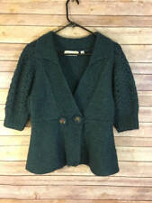 ANTHROPOLOGIE CHARLIE & ROBIN WOOL GREEN EMBROIDERED CARDIGAN S
