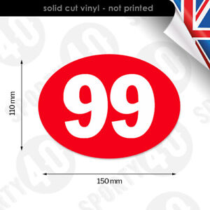 2x Oval Numbers 150x110mm Vinyl Decal Sticker Race Numbers Motorbike 4103-0119