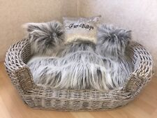 LUXURY GREY WICKER BASKET PET DOG BED WITH Fluffy CUSHIONS PERSONALISED Size 2