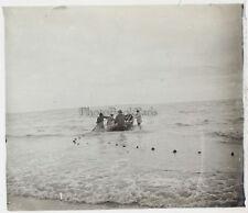 Pêcheurs Photo Plaque de verre Stereo Vintage 1921