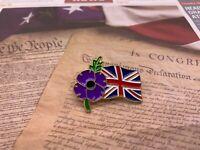 2020  UK Remember Day Purple Flower Enamel Pin Soldier Metal Lapel  Badge Brooch
