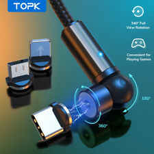 TOPK 3 IN 1 Magnetic Cable 360° Rotation USB Cable for iPhone Type C Micro USB