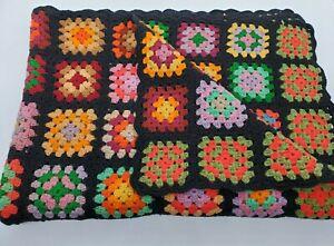 Vtg Afghan Crochet Granny Square Blanket Handmade Throw Black Multicolor 66x46