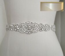 Wedding Bridal Sash Belt, Crystal Pearl Wedding Dress Belt = WHITE Satin Sash