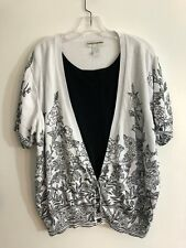 f1c7f6e3b4b CATHY DANIELS women Cardigan Short Sleeve Sweater Siz 2X Black white Cotton  1034