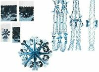 Ice Blue CHRISTMAS FOIL HANGING CEILING DECORATION GARLAND SNOWFLAKES Frozen