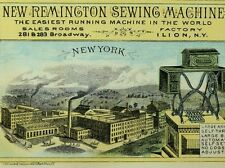 1870's-80's Scarce New Remington Sewing Machine New York Factory Scene Card F77