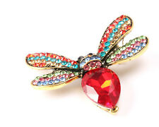 Gold Tone Bug Brooch with Red Stone Body and Coloured Rhinestones