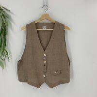 Gerties Womens Vest Size M Lagenlook Brown Gingham Sleeveless Shirt Woven Linen