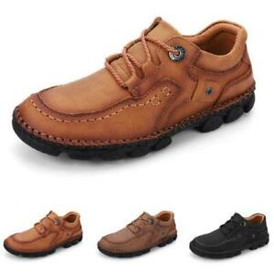 Mens Pumps Lace up Breathable Comfy Flats Faux Leather Driving Moccasins Shoes L