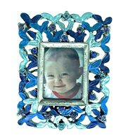 Mini Rectangle Picture Frame 025BL Austrian Crystals Collectible Desktop Decor