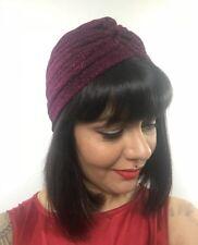 Bonnet turban stretch bordeaux à paillettes pinup burlesque rétro sexy original