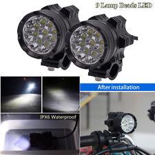 2 x Aluminum Alloy 90W 9 Lamp Beads LED Motorcycle Headlight Spotlight Fog Light