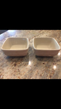 Longaberger Set of 2 Dinnerware Pottery Dishes Ivory Square Soup Salad Bowls