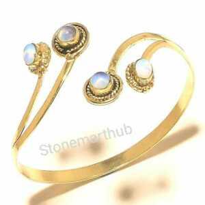 925 Tibetan Silver Cuff Brass Handmade Cuff Fire Opal Cuff Fashion Jewelry