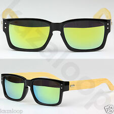 Square Rectangle Wood Temples Bamboo Sunglasses Quality Shades