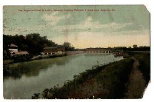 GA Georgia Augusta Canal & Locks Covered Bridge Richmond County Postcard