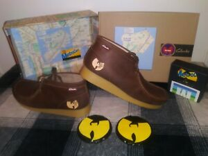 Clarks Wu-Wear Wallabees Leather Men Shoes Sz 9.5 Cstm Box w/ Wu Coasters Set
