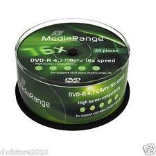 50 MEDIARANGE Vergini Vuoti DVD-R 16X in CAKE da 50pz dvd MR444 + 1 cd verbatim
