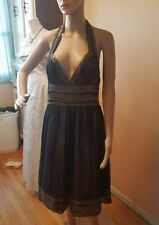 Adriana papell size 12 100% silk black over gold sequence knee length halter