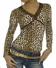 Shirt  Stretchshirt  36 36/38 braun Spitze leo lurex Shirt V-Ausschnitt Leopard