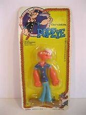 POPEYE 1980 BENDABLE 4 INCH MINT SEALED ON COLORFUL CARD KING FEATURES VINTAGE