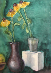 Vintage impressionist watercolor painting still life with flowers