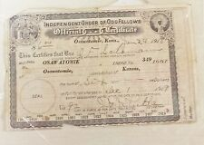 Antique Official Certificate from The Official Order of Odd Fellows - 1918
