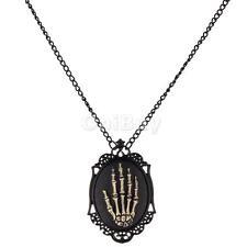 Victorian steampunk goth gothic skull skeleton hand Pendant necklace chain